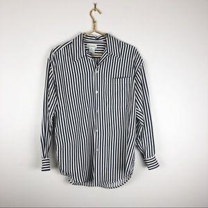 Ann Taylor Blue Striped Silk Button Down Blouse